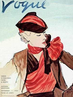 Oscar Photograph - Vogue Cover Illustration Of A Woman Wearing A Red by Carl Oscar August Erickson