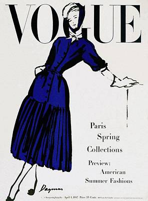 White Background Photograph - Vogue Cover Illustration Of A Woman Wearing Blue by Dagmar