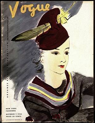 Striped Dress Photograph - Vogue Cover Illustration Of A Woman Wearing by Jean Pages