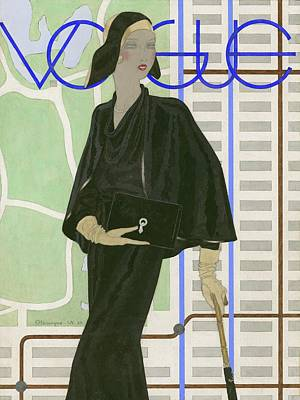 Umbrellas Digital Art - Vogue Cover Illustration Of A Woman Wearing by Pierre Mourgue
