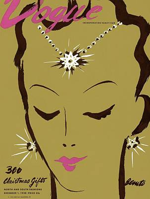 Vogue Cover Illustration Of A Woman Wearing Star Art Print