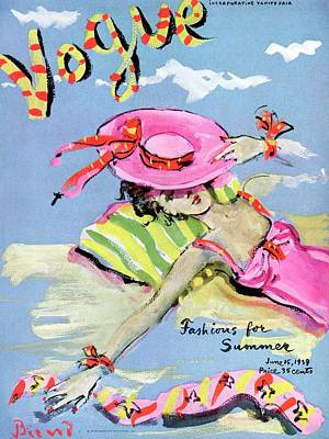 Bathing Suit Photograph - Vogue Cover Illustration Of A Woman With Her Face by Christian Berard