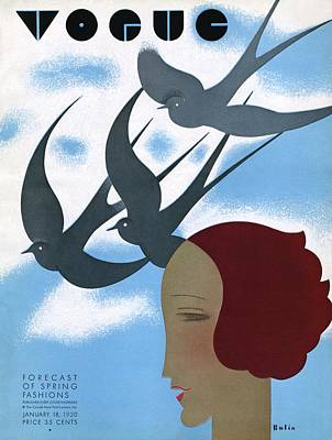 Vogue Cover Illustration Of A Woman's Profile Art Print