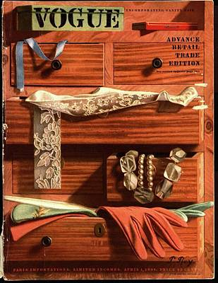 Wood Necklace Photograph - Vogue Cover Illustration Of Drawers Open by Pierre Roy