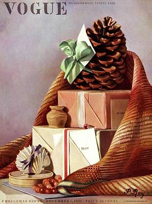 Seashell Drawing Photograph - Vogue Cover Illustration Of Gift Boxes by Pierre Roy