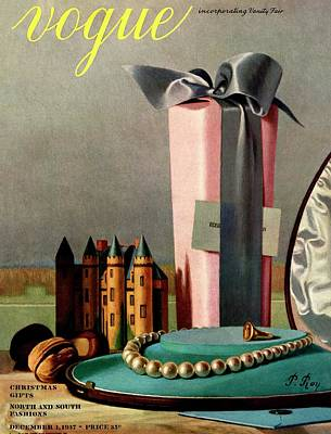 Castle Photograph - Vogue Cover Illustration Of Holiday Gifts by Pierre Roy
