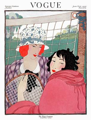 Vogue Cover Illustration Of Two Women In Front Art Print