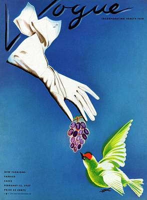 White Gloves Photograph - Vogue Cover Illustration Of White Gloves by Raymond de Lavererie