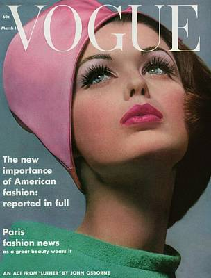 Text Photograph - Vogue Cover Of Dorothy Mcgowan by Bert Stern