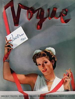 Vogue Cover Of Helen Bennett Wearing Tiffany & Art Print by John Rawlings