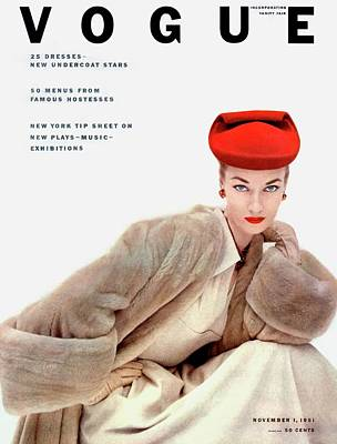 White Background Photograph - Vogue Cover Of Janet Randy by Clifford Coffin