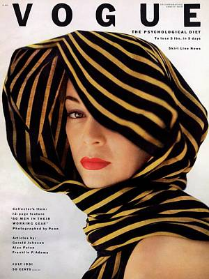 Vogue Cover Of Jean Patchett Art Print by Clifford Coffin