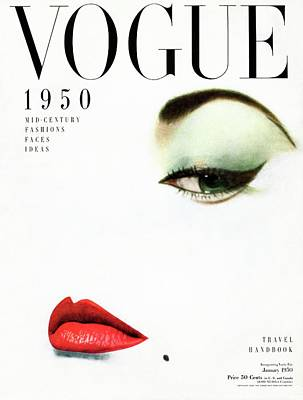 Text Photograph - Vogue Cover Of Jean Patchett by Erwin Blumenfeld