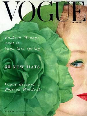 Vintage Fashion Photograph - Vogue Cover Of Nina De Voe by Erwin Blumenfeld