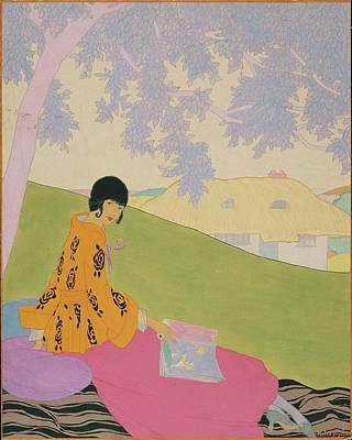 Looking At Camera Digital Art - Vogue Illustration Of A Woman Sitting On A Hill by Helen Dryden