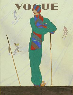 Winter Sports Digital Art - Vogue Magazine Cover Featuring A Model Posing by Pierre Pages