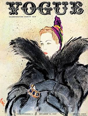 Photograph - Vogue Magazine Cover Featuring A Woman In A Fur by Carl Oscar August Erickson