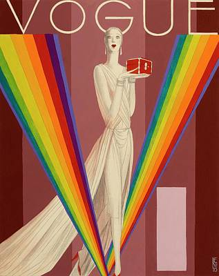Footwear Digital Art - Vogue Magazine Cover Featuring A Woman In A Gown by Eduardo Garcia Benito