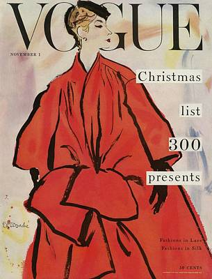Vogue Magazine Cover Featuring A Woman In A Large Art Print by Rene R. Bouche