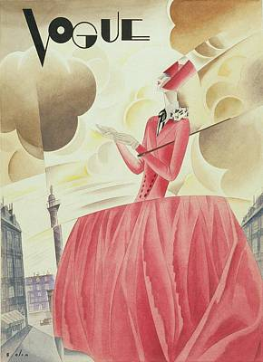 Urban Scenes Digital Art - Vogue Magazine Cover Featuring A Woman In A Pink by William Bolin