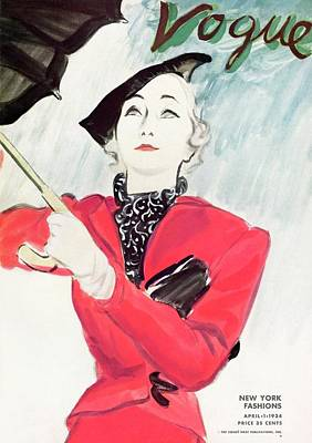Vogue Magazine Cover Featuring A Woman In A Red Art Print