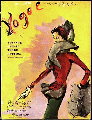 1937 Photograph - Vogue Magazine Cover Featuring A Woman In A Red by Christian Berard