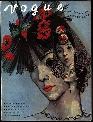 Vogue Magazine Cover Featuring A Woman In Three Art Print by Pavel Tchelitchew