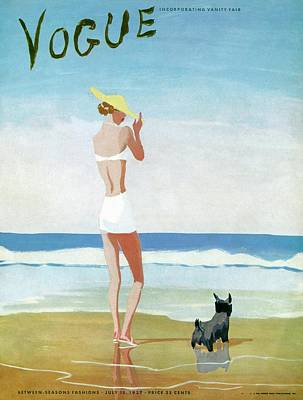Vogue Magazine Cover Featuring A Woman On A Beach Art Print by Eduardo Garcia Benito