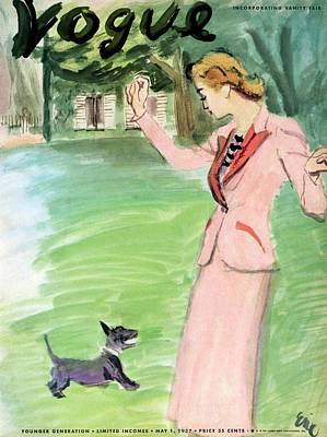 House Pet Photograph - Vogue Magazine Cover Featuring A Woman Playing by Carl Oscar August Erickson