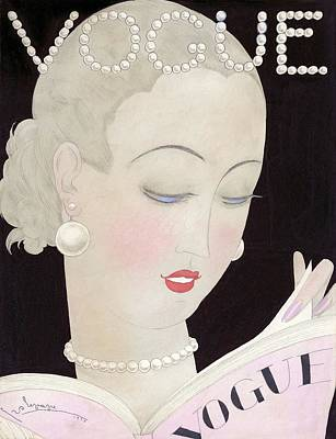 Rolling Stone Magazine Digital Art - Vogue Magazine Cover Featuring A Woman Reading by Georges Lepape