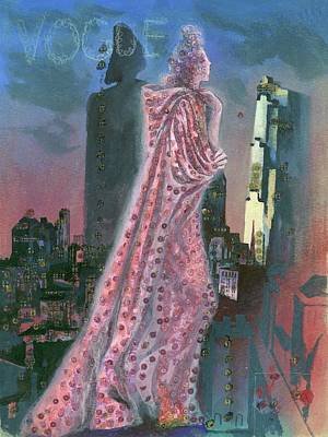 Urban Scenes Digital Art - Vogue Magazine Cover Featuring A Woman Standing by Pavel Tchelitchew