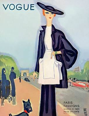 Vogue Magazine Cover Featuring A Woman Walking Art Print by Eduardo Garcia Benito