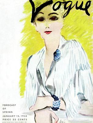 Photograph - Vogue Magazine Cover Featuring A Woman Wearing by Carl Oscar August Erickson