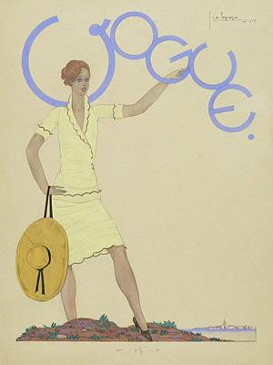 Vogue Magazine Cover Featuring A Woman Wearing Art Print by Georges Lepape