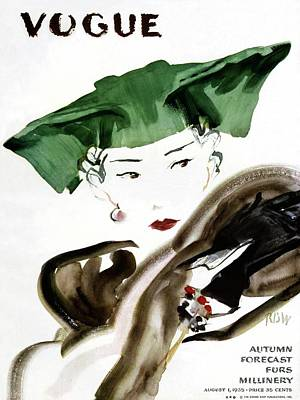 Magazine Photograph - Vogue Magazine Cover Featuring A Woman Wearing by Rene Bouet-Willaumez
