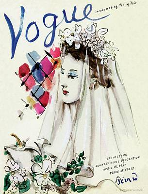 Wedding Dress Photograph - Vogue Magazine Cover Featuring An Illustration by Christian Berard