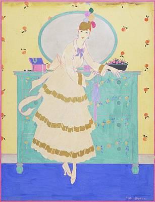 Bouquet Photograph - Vogue Magazine Illustration Of A Woman Wearing by Helen Dryden