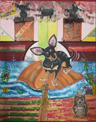 American Idol Judge Painting - Voice Of The Rescue Dog In Shipping Lanes by Carrie Beehan