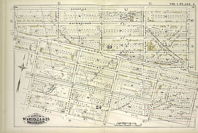 Chauncey Drawing - Vol. 1. Plate, J. Map Bound By Decatur St., Patchen Ave by Litz Collection
