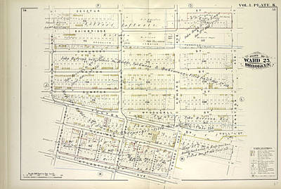 Chauncey Drawing - Vol. 1. Plate, K. Map Bound By Decatur St., Saratoga Ave by Litz Collection