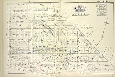 Chauncey Drawing - Vol. 1. Plate, L. Map Bound By Decatur St., Broadway by Litz Collection