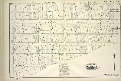 Douglass Drawing - Vol. 1. Plate, Q. Map Bound By Douglass St., Buffalo Ave by Litz Collection