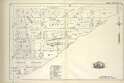 Pl Drawing - Vol. 1. Plate, S. Map Bound By Prospect Pl., Hopkinson Ave by Litz Collection