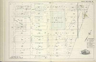 Hamburg Drawing - Vol. 2. Plate, Q. Map Bound By Magnolia St., City Line by Litz Collection