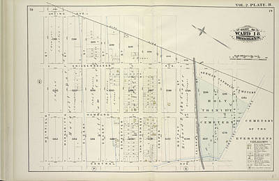 Hamburg Drawing - Vol. 2. Plate, R. Map Bound By City Line, Cemetery Lane by Litz Collection