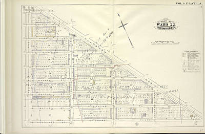 Pl Drawing - Vol. 4. Plate, A. Map Bound By Atlantic Ave., Flatbush by Litz Collection