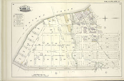 Creek Drawing - Vol. 6. Plate, F. Map Bound By Newtown Creek, Charlick St by Litz Collection