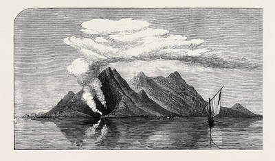 Philippines Drawing - Volcanic Eruption In The Island Of Camiguin Philippines 1871 by English School