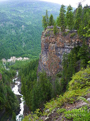 British Columbia Drawing - Volcanic Rock Cliff In Wells Gray Provincial Park At British Columbia Canada by Aeris Osborne