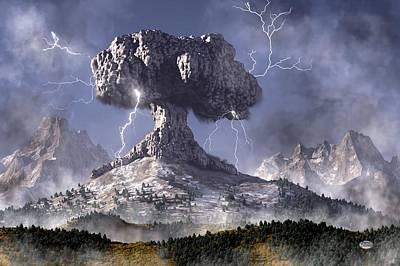 Lightning Digital Art - Volcano by Daniel Eskridge